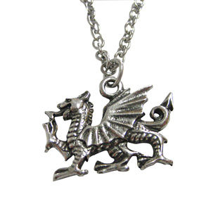 Kiola Designs Silver Toned Textured Welsh Dragon Cufflinks